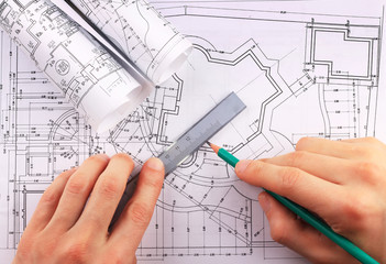 Architectural blueprints rolls of technology project