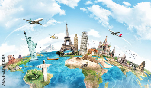 Plexiglas Artistiek mon. Travel the world monument concept