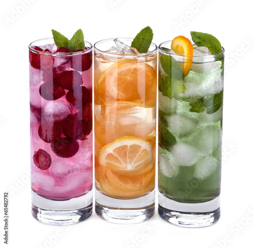 iced drink with orange, cherry and mint