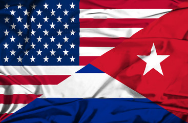 Waving flag of Cuba and USA