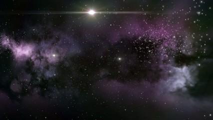 Interstellar nebula cloud with star clusters in deep space