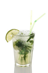 .Fresh mojito in the sweaty glass