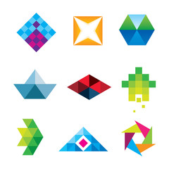Geometric polygon art design arrow new dimension logo set icon