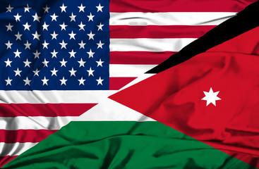 Waving flag of Jordan and USA