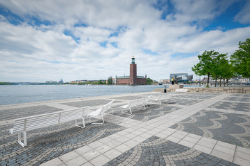 View over the city tower Stadshuset with the statue of evert Tau