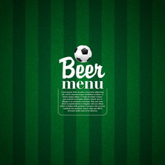 Soccer Beer Menu, Elegant restaurant theme for football and socc