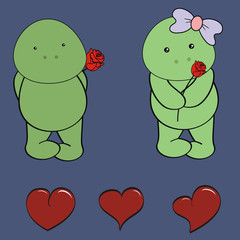 turtle baby love cartoon rose set