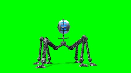 Alien Hexapot Drohne walk - green screen
