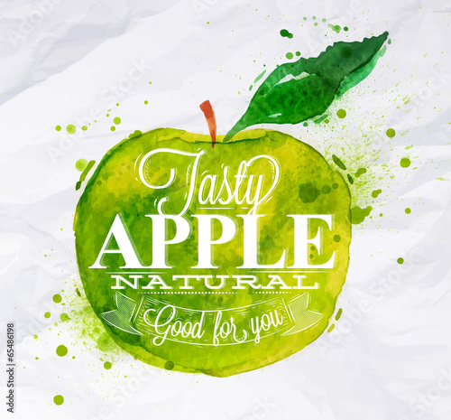 Poster fruit apple green