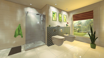 Modern Bathroom with mosaic wall