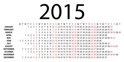 Horizontal calendar for 2015 on white. Vector EPS10.
