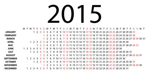 Horizontal calendar for 2015 on white. Vector EPS10.