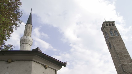 Old watch tower and minaret of Gazi Husrev mosque