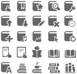 Gray icons of books and literature