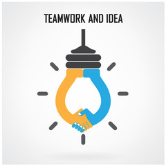 Creative light bulb Idea and handshake sign,teamwork and ideas c