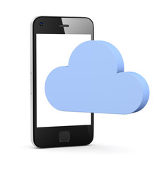 cloud shape speech bubble with phone