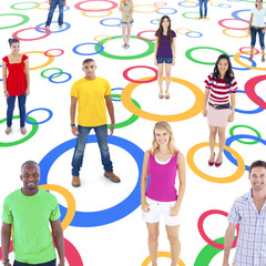 Group of Multi-Ethnic People Connected on Colorful Circle