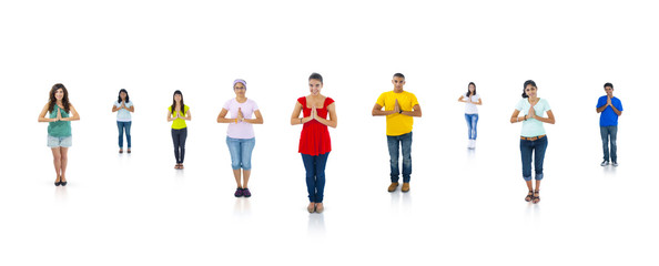 Colorful Multi Ethnic People Standing And Praying