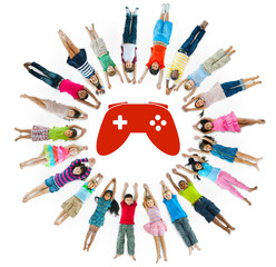 Multiethnic Group of Children with  Video Game
