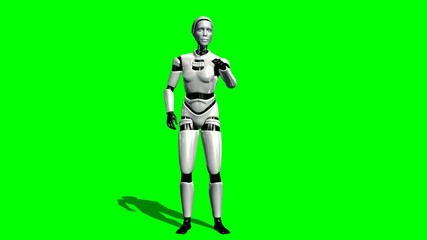 Human I-Robot explains something - green screen