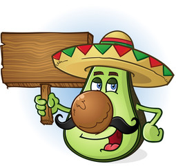 Avocado Mexican Cartoon Character Sombrero Wooden Sign