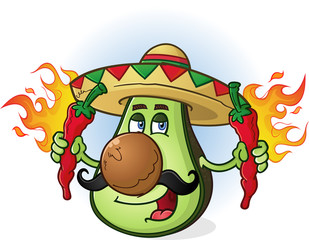 Avocado Mexican Cartoon Character Sombrero Hot Peppers