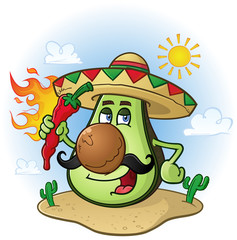 Avocado Mexican Cartoon Character Wearing Sombrero