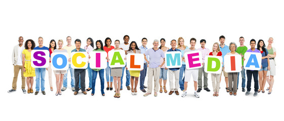 Group of Multi-Ethnic People with Social Media Concept
