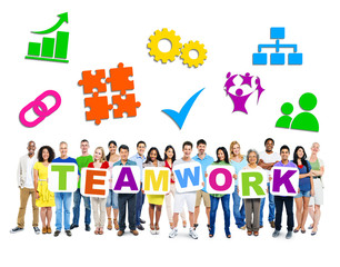 Group of Multi-ethnic people holding Teamwork Placard