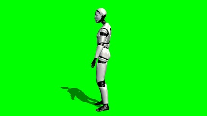 Human I-Robot looking around - green screen