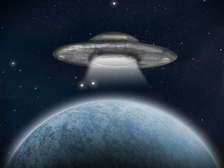 An alien space craft or UFO near an earth-like planet