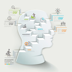 Business concept infographic. Businessman head thinking