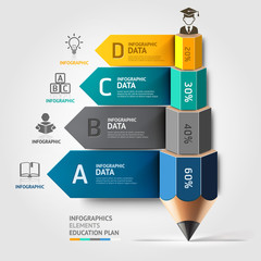 Business education pencil staircase infographics option. Vector