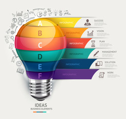 Business concept Lightbulb and doodles icons infographic.