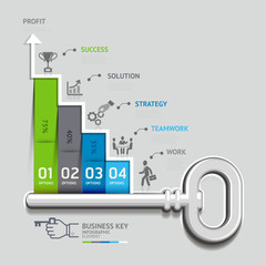 Business key staircase concept infographic template.