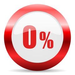 0 percent glossy web icon