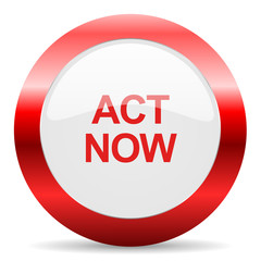 act now glossy web icon