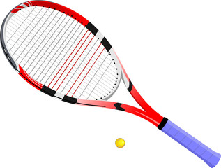 Isolated image of a tennis racket and ball. Vector illustration.