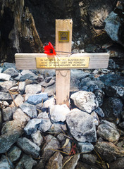 Cross memorial to prisoner of war at  Hellfire Pass, Kanchanabur