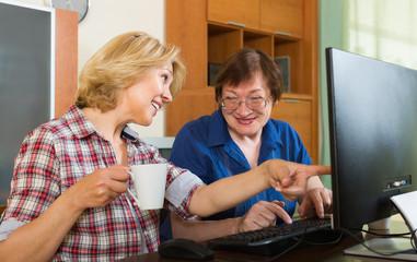 Two mature women  browsing web