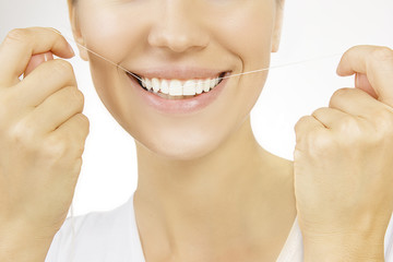 Flossing, Woman and teeth floss