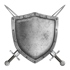 medieval metal knight shield with crossed swords isolated on whi