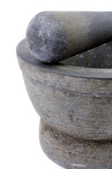 Mortar and Pestle on White