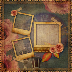 vintage texture background with watch (time), frames, lace, rose