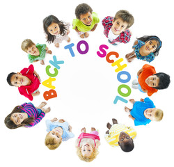 Group of Multi-Ethnic Children with Back to School Concept