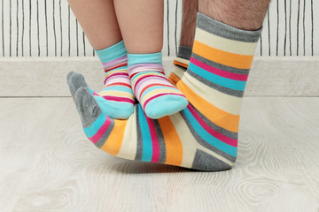 father and son in socks