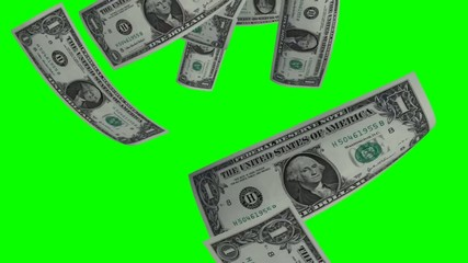 Dollar rain - Dollar notes falling down - green screen