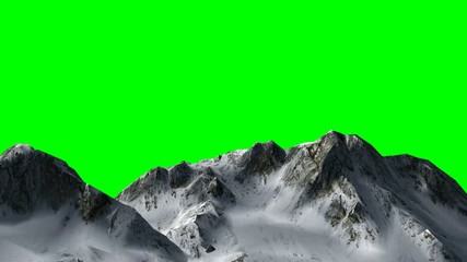 flight over mountains -  green screen
