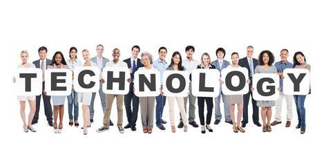 Multi-Ethnic Group of  People with Technology Letter