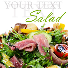 Warm salad with a cutting of a lamb